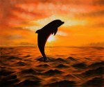 Dolphins I - Oil Painting Reproduction On Canvas
