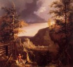 Daniel Boone Sitting at the Door of His Cabin on the Great Osage Lake, Kentucky - Thomas Cole Oil Painting