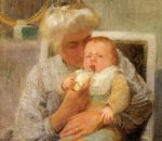 The Baby's Bottle - Oil Painting Reproduction On Canvas