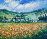 Poppy Field near Giverny - Claude Monet Oil Painting