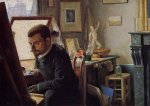 Felix Jasinski in His Printmaking Studio - Felix Vallotton Oil Painting