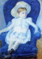 Elsie in a Blue Chair - Mary Cassatt Oil Painting