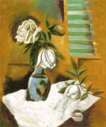 White Roses in a Vase - Oil Painting Reproduction On Canvas
