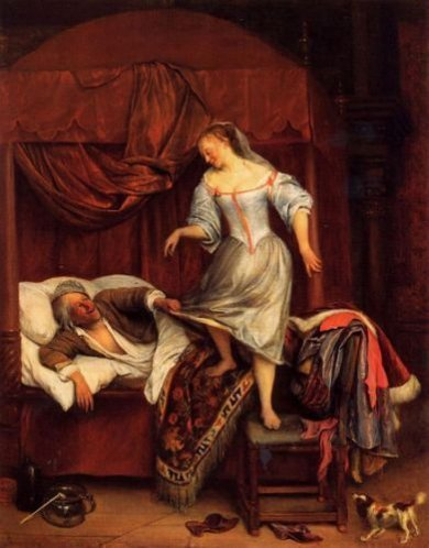 Couple in a Bedroom - Jan Steen oil painting