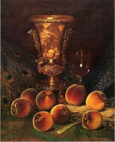 Still Life with Peaches and Marble Vase - William Mason Brown Oil Painting