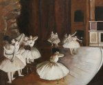 Ballet Rehearsal on the Stage - Edgar Degas Oil Painting