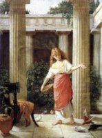 In the Peristyle - John William Waterhouse Oil Painting