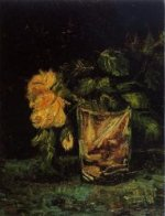 Glass with Roses - Vincent Van Gogh Oil Painting