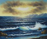 Evening Wave Break - Oil Painting Reproduction On Canvas