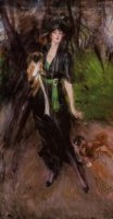 Portrait of a Lady, Lina Bilitis, with Two Pekinese - Oil Painting Reproduction On Canvas