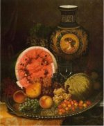Still Life with Fruit and Vase - William Mason Brown Oil Painting