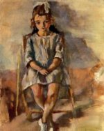 Seated Young Girl II - Jules Pascin Oil Painting