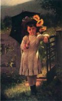 The Sunflower Girl - John George Brown Oil Painting
