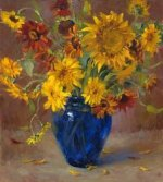 A bunch of chrysanthemum in a blue vase - Oil Painting Reproduction On Canvas