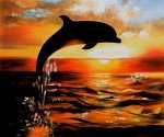 Dolphins II - Oil Painting Reproduction On Canvas