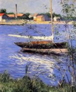 Anchored Boat on the Seine at Argenteuil - Gustave Caillebotte Oil Painting
