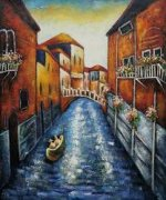 Venetian Canal with Gondola - Oil Painting Reproduction On Canvas