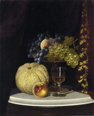 Still Life with Melon, Peach, Fruit-Filled Compote and Glass of Wine on a Marble Table Top - William Mason Brown Oil Painting