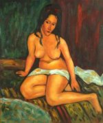 Seated Nude, 1917 - Amedeo Modigliani Oil Painting