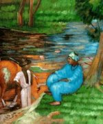 At the Pond - Oil Painting Reproduction On Canvas