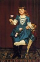 Daisy McComb Holding a Pink Rose - John George Brown Oil Painting