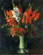 Vase of Gladiolas - Gustave Caillebotte Oil Painting