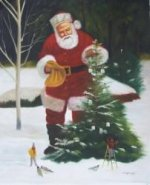 Santa Claus Decorates the Christmas Tree - Oil Painting Reproduction On Canvas
