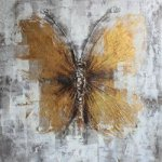 Decorative butterfly on oil painting