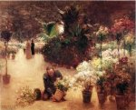 Flower Mart - Theodore Clement Steele Oil Painting