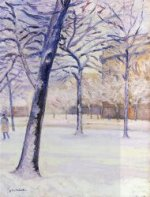 Park in the Snow, Paris - Gustave Caillebotte Oil Painting