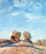 Hill Path in Sunlight - Alfred Sisley Oil Painting