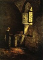 A Corner in the Old Kitchen of the Mittenheim Cloister - Theodore Clement Steele Oil Painting
