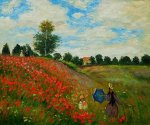 Poppy Field in Argenteuil II - Claude Monet Oil Painting