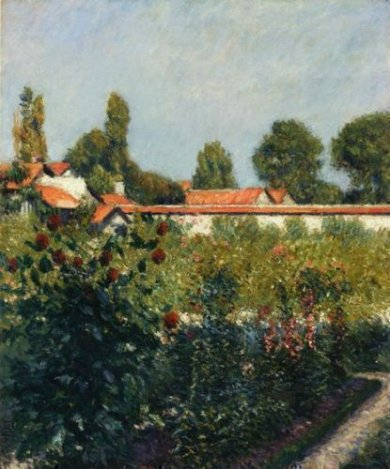 The Garden of Petit Gennevillers, the Pink Roofs - Gustave Caillebotte Oil Painting