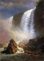 Falls of Niagara from Below - Albert Bierstadt Oil Painting