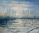 Floating Ice near Vetheuil - Claude Monet Oil Painting