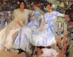 My Wife and Daughters in the Garden - Joaquin Sorollay Bastida Oil Painting