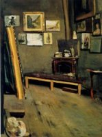 Studio of the Rue Visconti - Jean Frederic Bazille Oil Painting