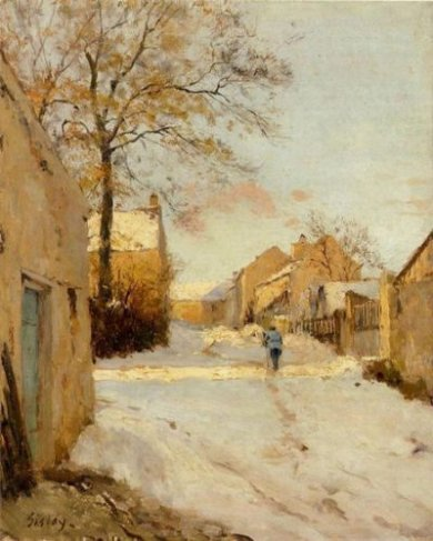 A Village Street in Winter, - Alfred Sisley Oil Painting