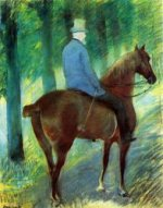 Mr. Robert S. Cassatt on Horseback - Mary Cassatt Oil Painting
