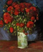 Vase with Red Poppies - Vincent Van Gogh Oil Painting