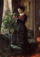 Portrait of Fru Lisen Samson, nee Hirsch, Arranging Flowers at a Window - Oil Painting Reproduction On Canvas