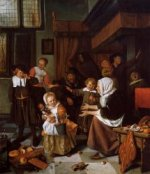 The Feast of Saint Nicholas - Jan Steen oil painting