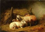 Sheep in Shed - Arthur Fitzwilliam Tait Oil Painting
