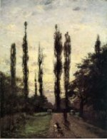 Evening, Poplars - Theodore Clement Steele Oil Painting