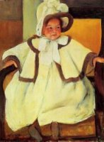 Ellen Mary Cassatt in a White Coat - Mary Cassatt Oil Painting