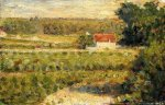 House with Red Roof - Georges Seurat Oil Painting