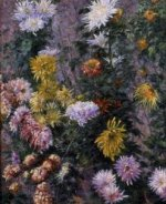 White and Yellow Chrysanthemums, Garden at Petit Gennevilliers - Gustave Caillebotte Oil Painting
