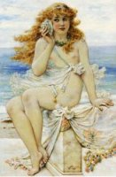 Nymph with Conch Shell - William Stephen Coleman Oil Painting