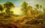 Landscape with a Watering Place - Peter Paul Rubens Oil Painting